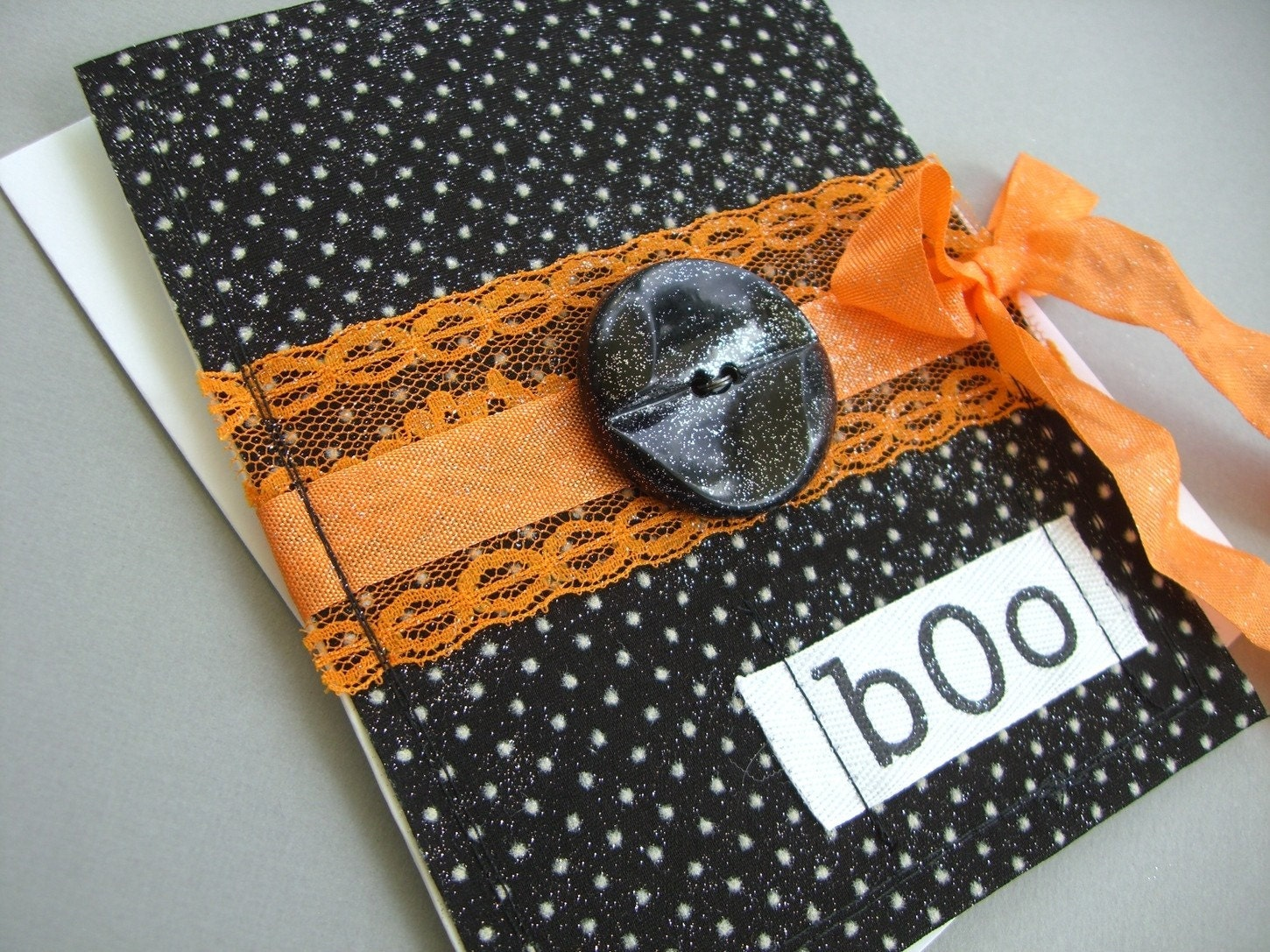 Super Spooky Halloween Card, Black Dotted Swiss