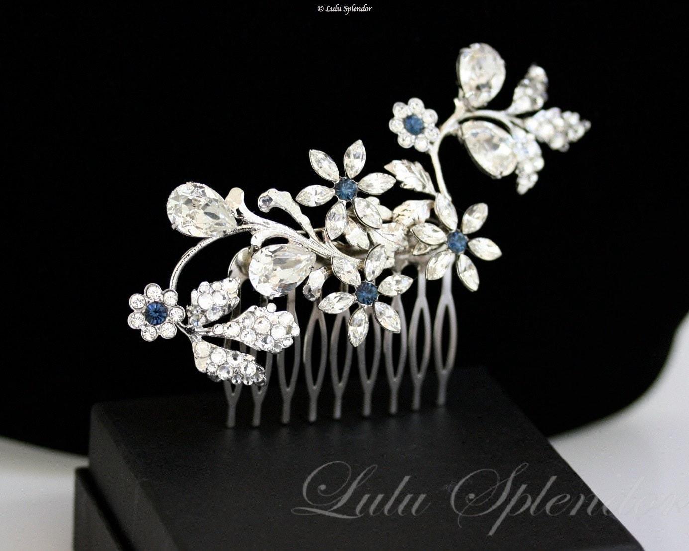 Swarovski Hair Comb, Wedding Hair Accessory, Something Blue, Rhinestone Flowers, Swarovski Montana, sapphire rhinestone Comb, AUBURY