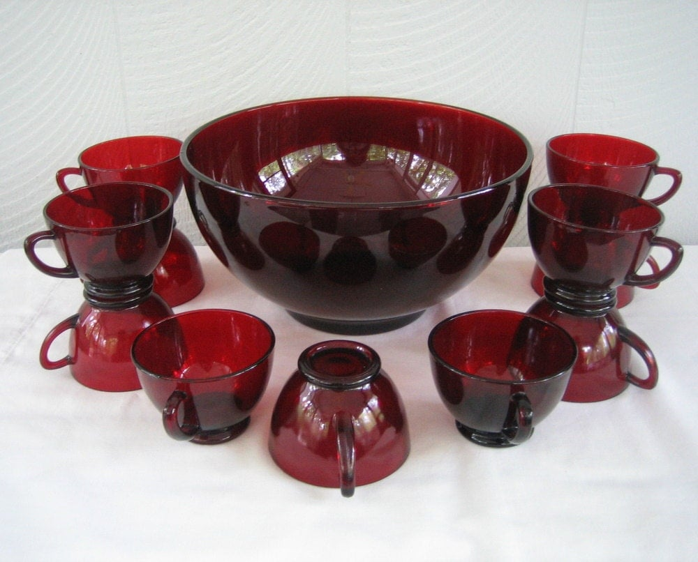 Sale Vintage Ruby Red Punch Bowl And Cups Anchor By Addy