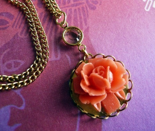 Lovely Coral Rose Cabochon Necklace by MaruMaru on Etsy from etsy.com