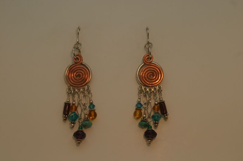 Mult Colored, 5 strand earrings