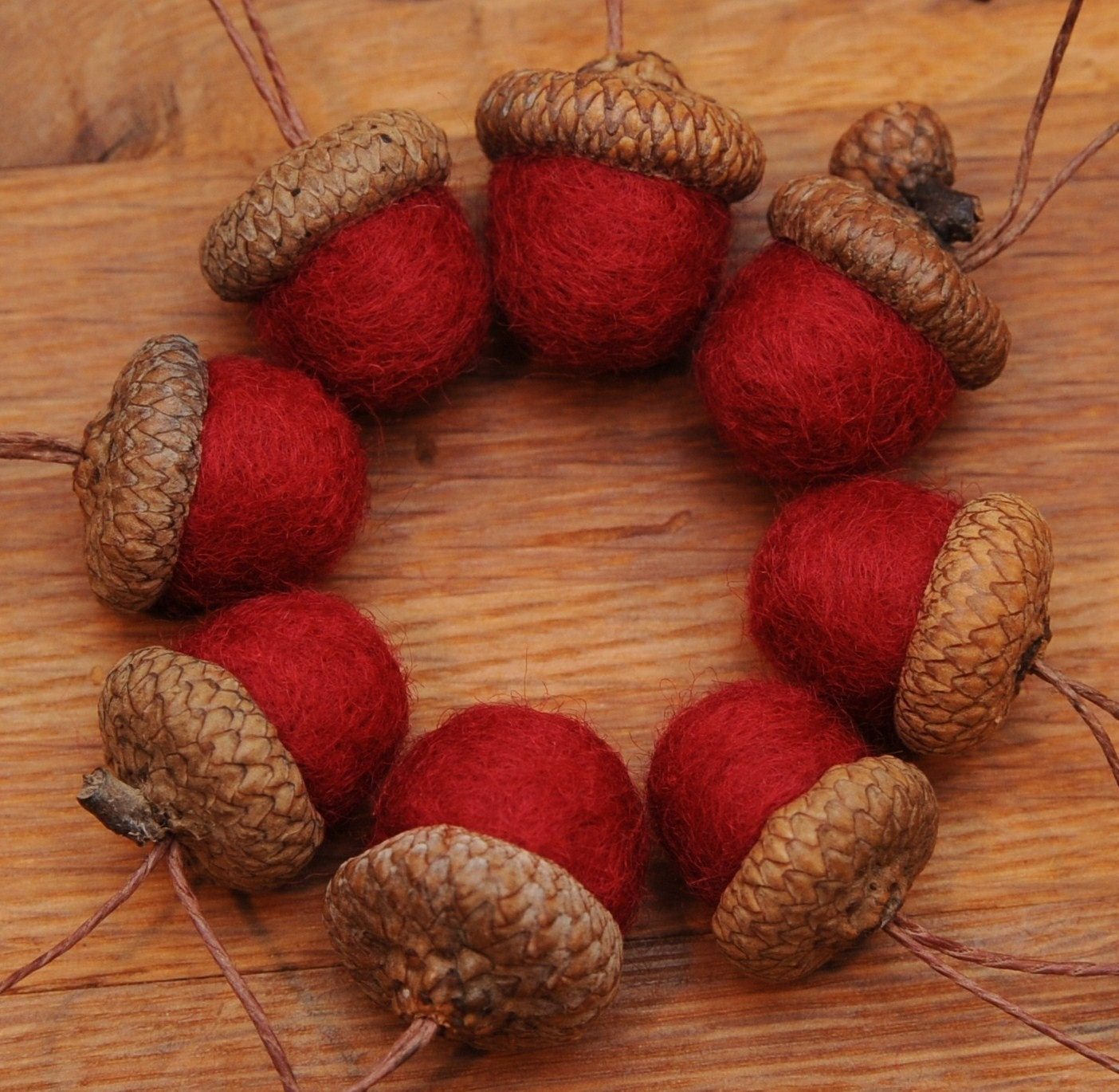 Red felted acorns or acorn christmas ornaments by for How to make acorn ornaments