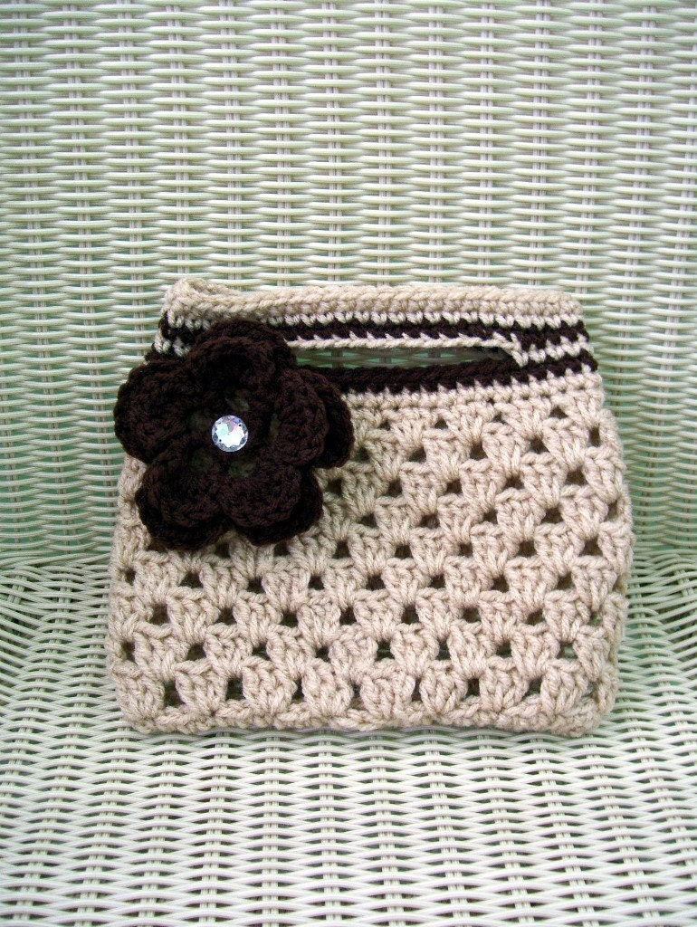 Crocheted Coffee Tofee Clutch Purse with Detachable Coffee Flower Gem Button Center