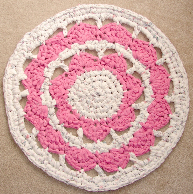 Pretty Pink And White Spring Crochet Rug Cherry By MoyseMade