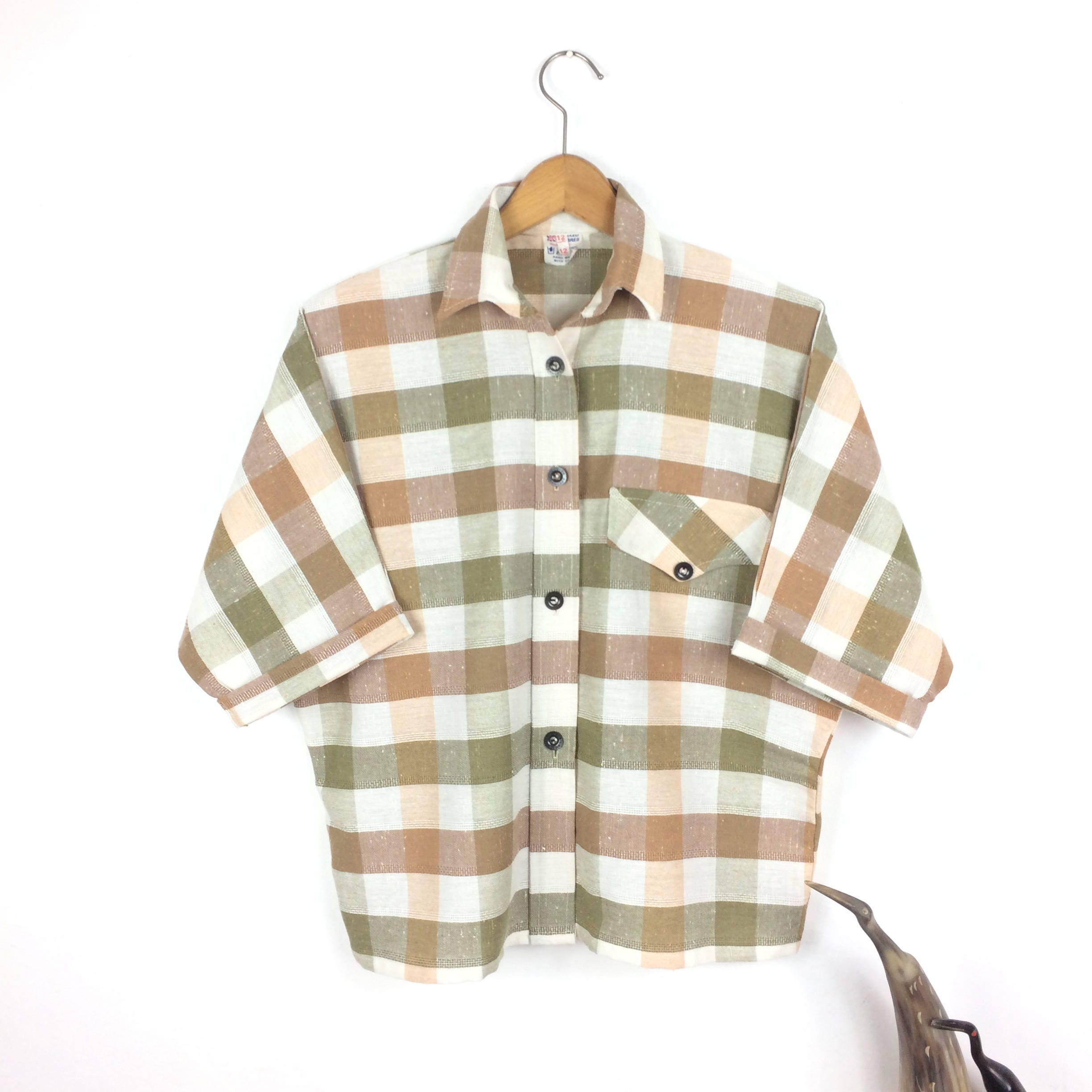 Plaid Blouse 70s Button Up Shirt Checkered Pattern Polo WIDE SLEEVE Boho 1970s Top Western Vintage Brown Beige Tunic Hipster Oversize Medium