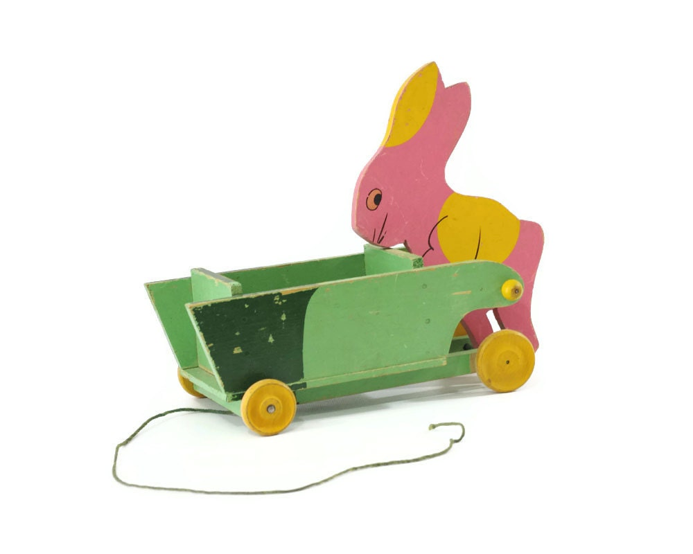 Vintage Easter Bunny Pull Toy, 1930s Toy Kraft, Wood Wagon Cart - GizmoandHooHa