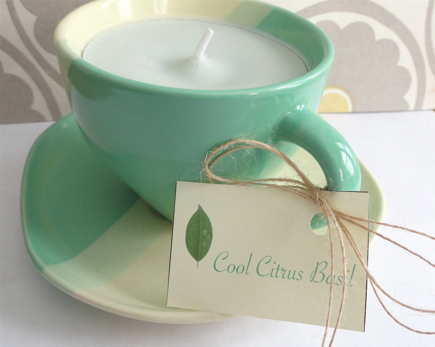 COOL CITRUS BASIL Handcrafted Soy Teacup Candle (7 oz.)