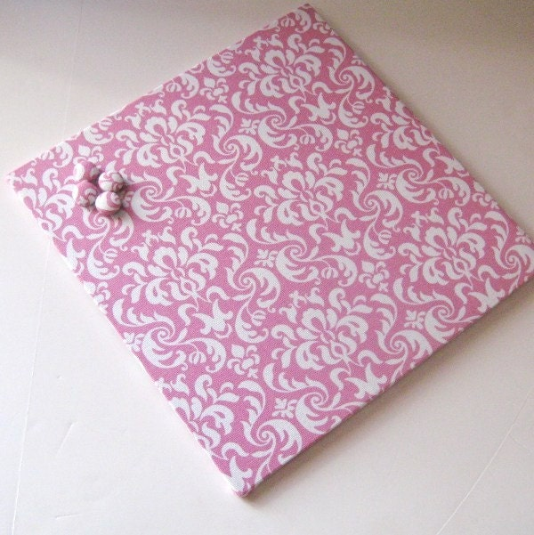 Wall-Mount Magnet Board 12inx12in No Frame - Pink and White Damask - MooreMagnets