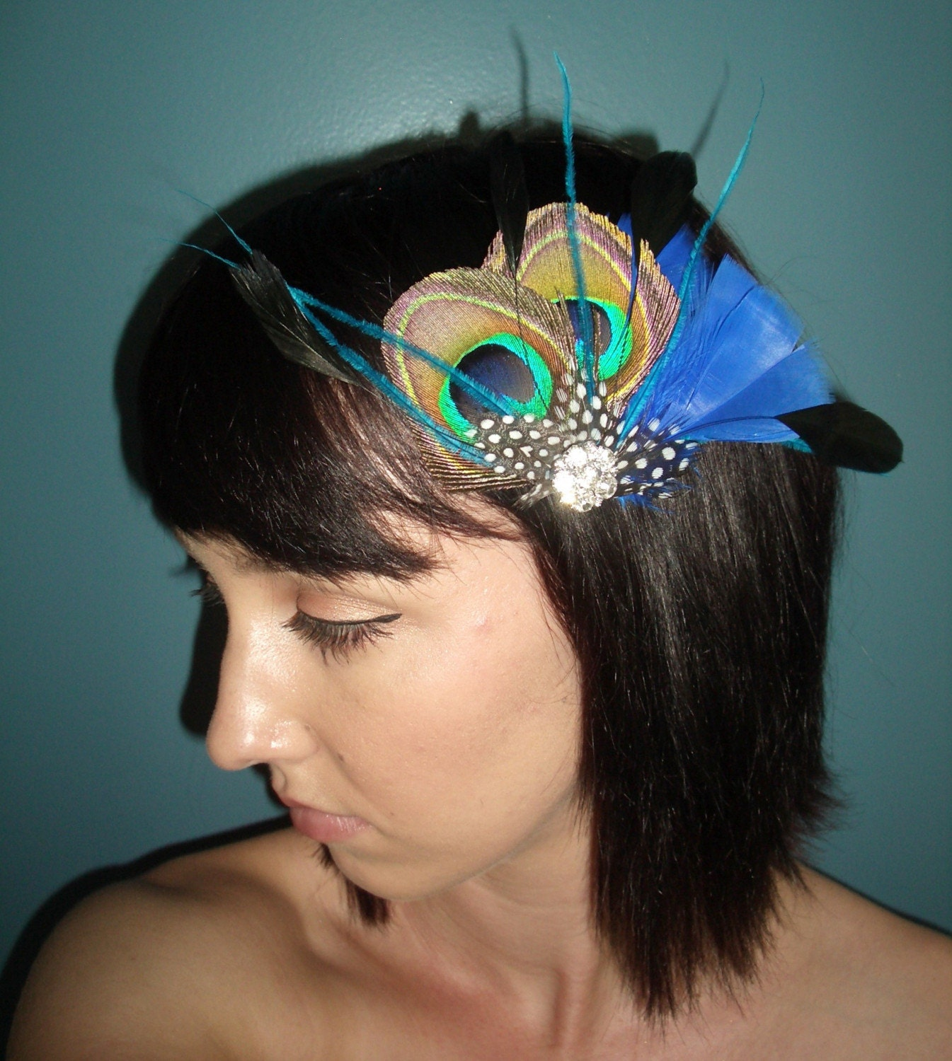Peacock and Blue Feather Fascinator by TessaKim on Etsy from etsy.com