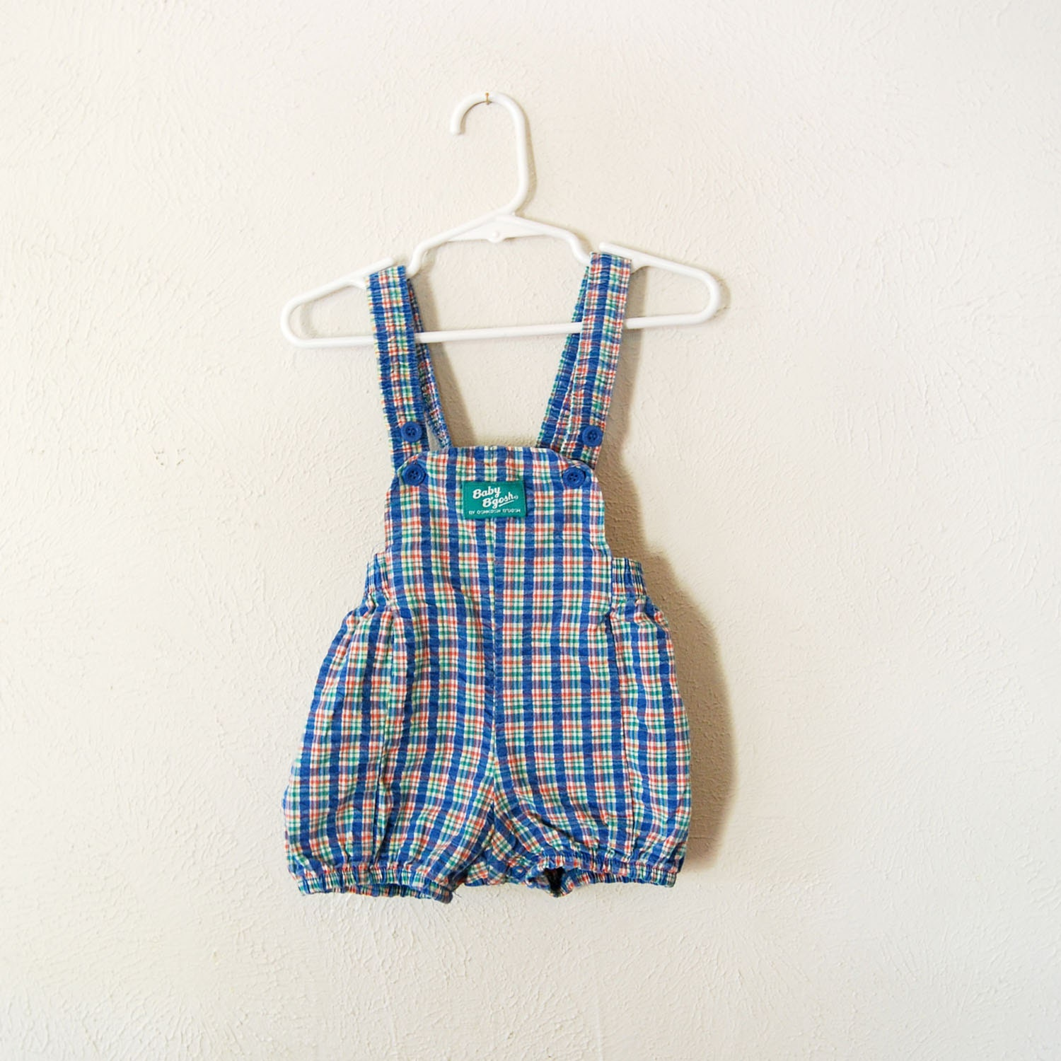 vintage made in america baby b'gosh plaid romper - olliesvintage