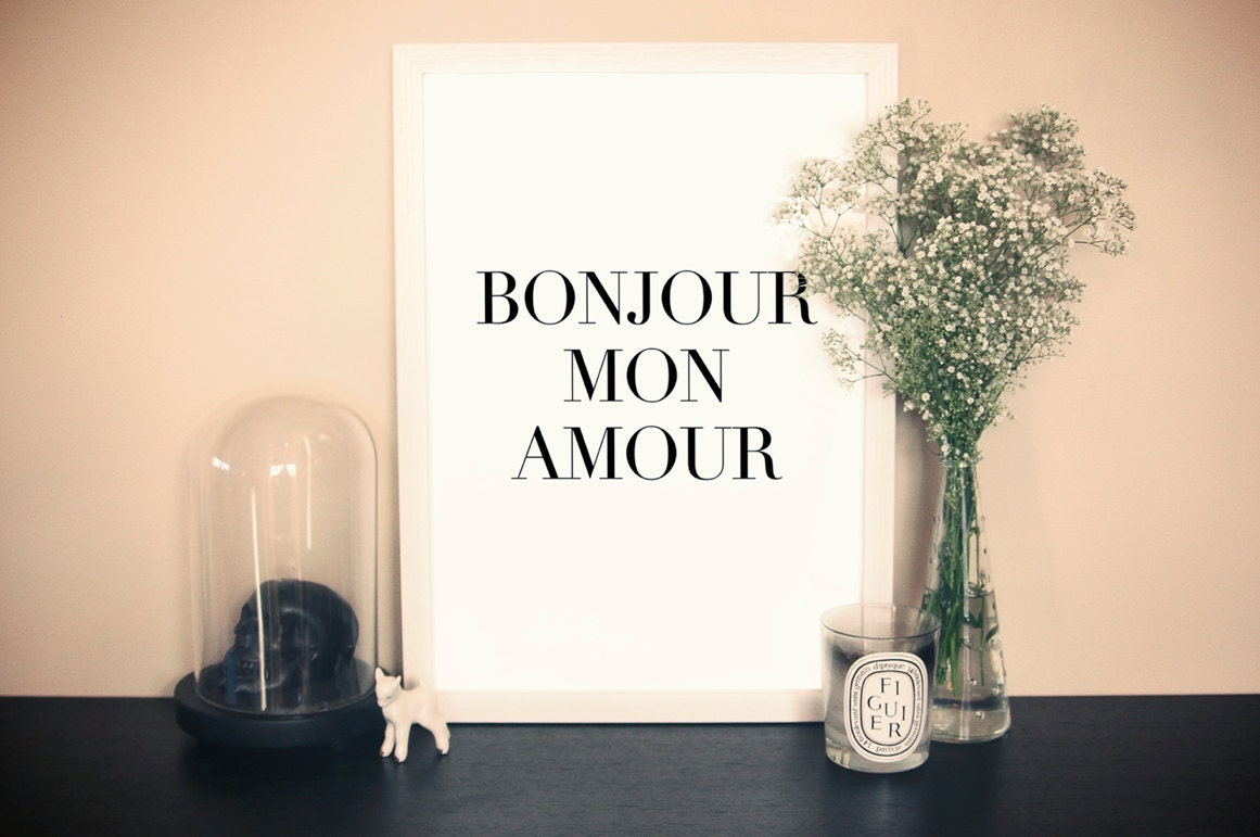 Bonjour Mon Amour Typography Quote Art Print - chloevaux