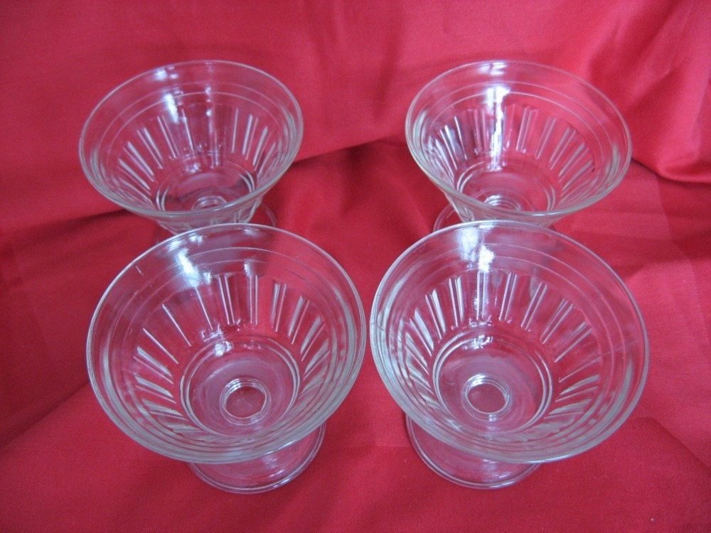 Art Deco Style Vintage Clear Glass Sherbet Dishes