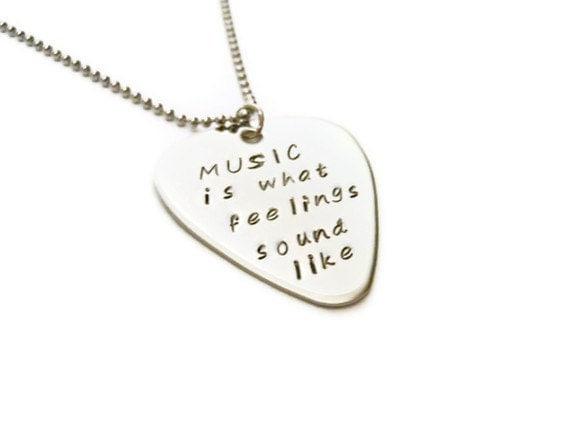 Feelings sound like inspirational necklace guitar pick music e