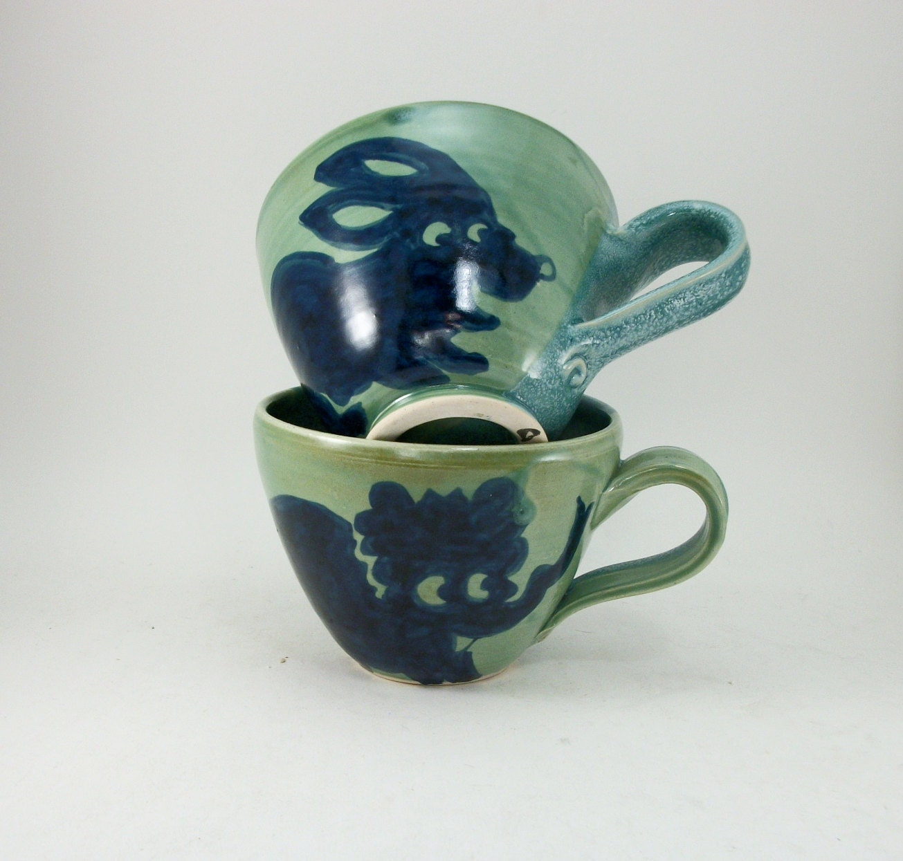 special pair of cups elephant and rabbit together