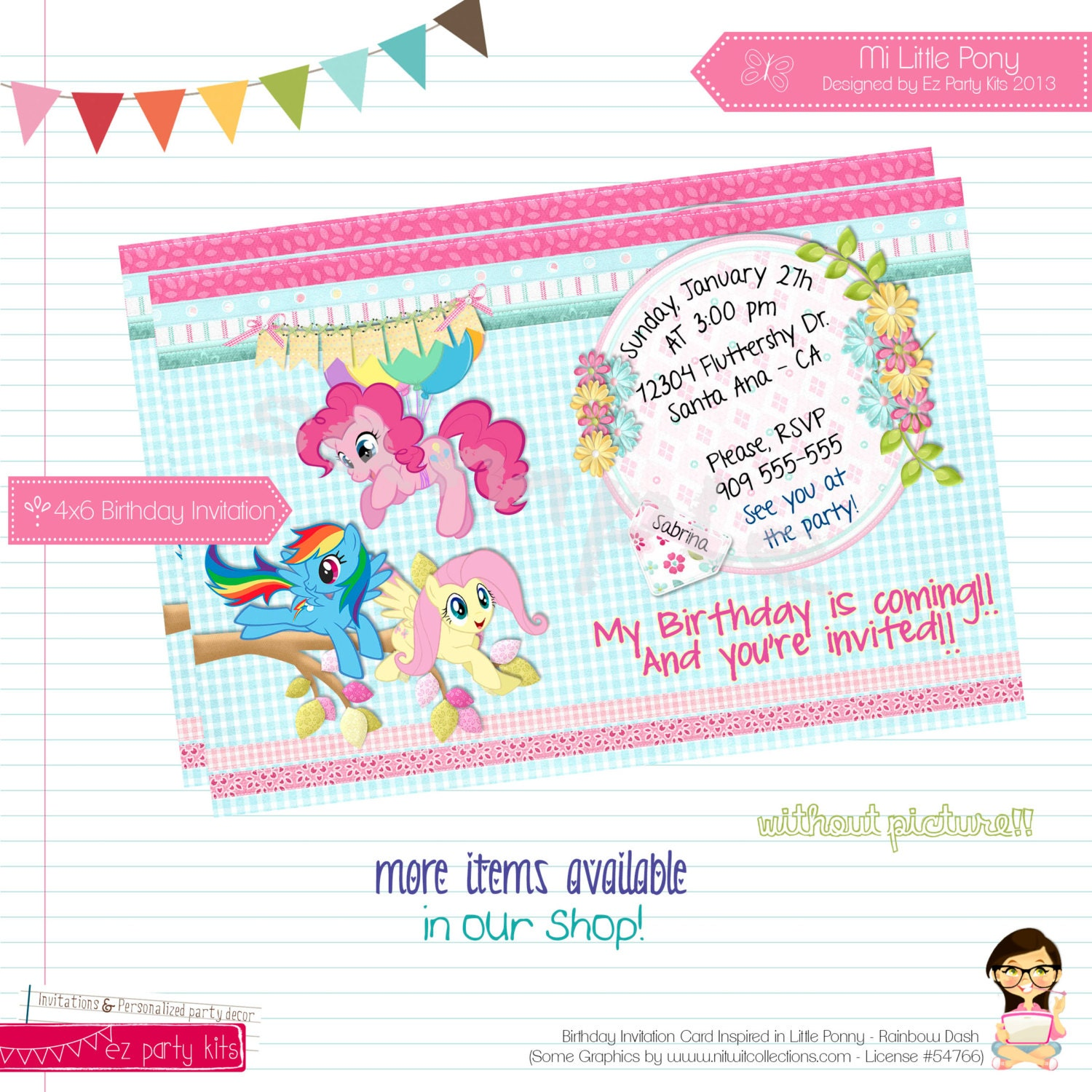 My Little Pony Photo Invitations with good invitation sample