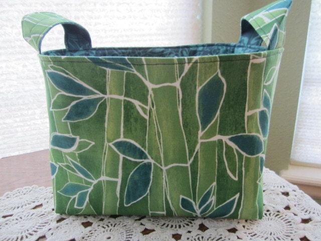 Reversible Organizer Fabric Bamboo Thicket Leaves Basket Bin Storage Bin Aqua - designsbyMickey4u