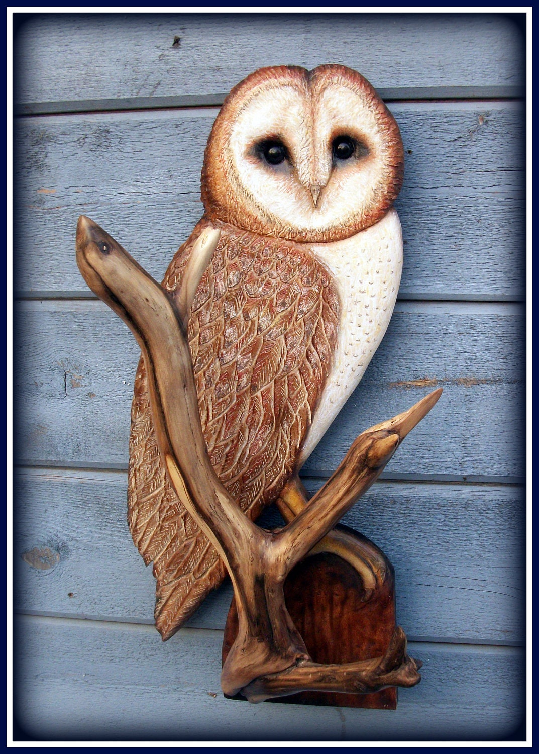 Barn owl wood carving art sculpture animal by woodnarts