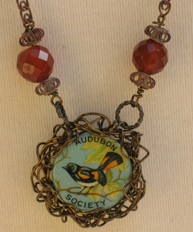 Baltimore Oriole Bird Necklace