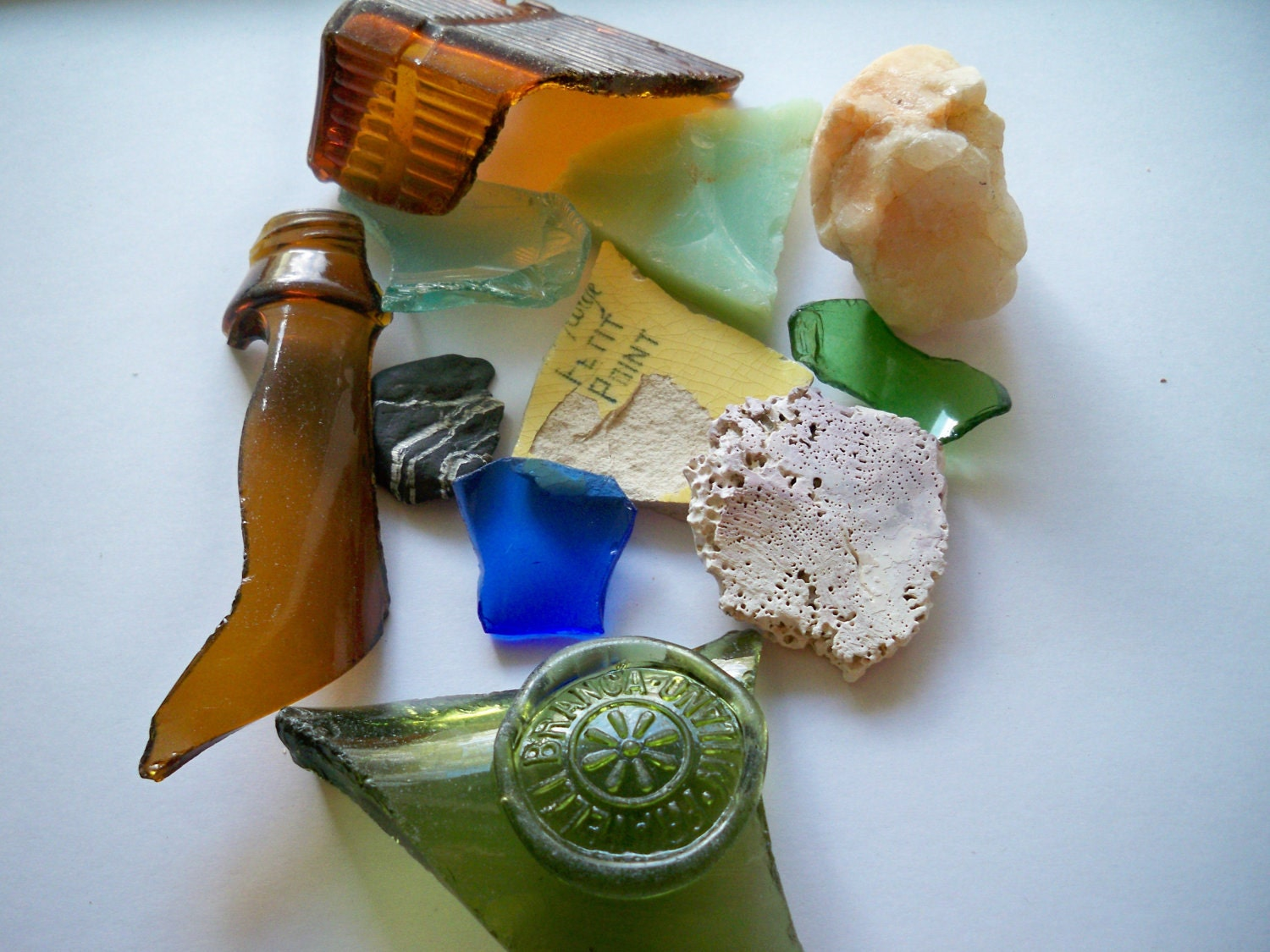 Sea glass, shells, pottery, stones - ocean and beach treasures