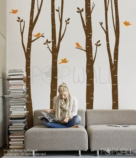 ON SALE - 100inch Tall Birch Trees with flying birds  -Vinyl Wall Decal Sticker Art - 075