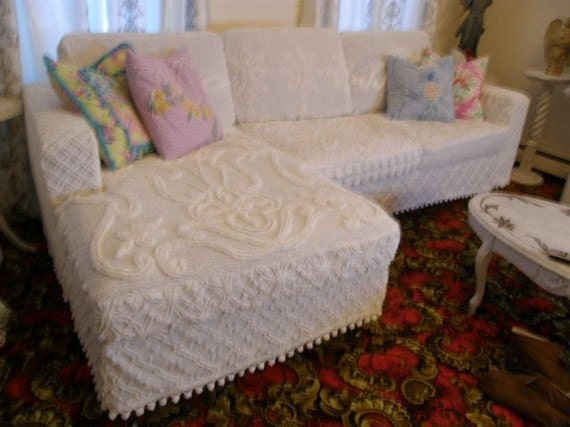 shabby couch sofa sectional chic white by vintagechicfurniture. Black Bedroom Furniture Sets. Home Design Ideas