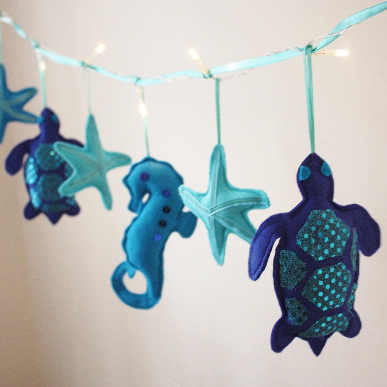 Blue Sea turtle fairy lights -  sea turtle theme, turtle room decor, blue nursery - ButtonOwlBoutique