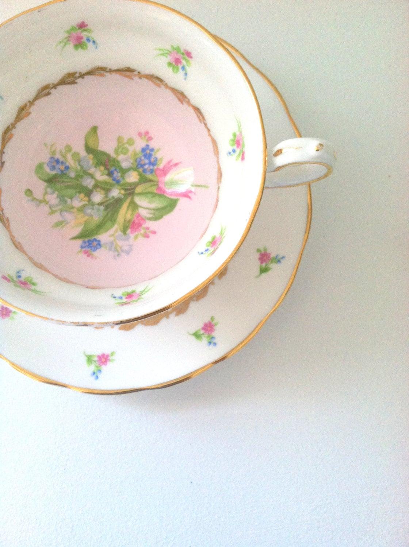 Vintage Grosvenor Tea Cup and Saucer Cottage Tea Party Charm Thank You or Housewarming Gift Inspiration - MariasFarmhouse