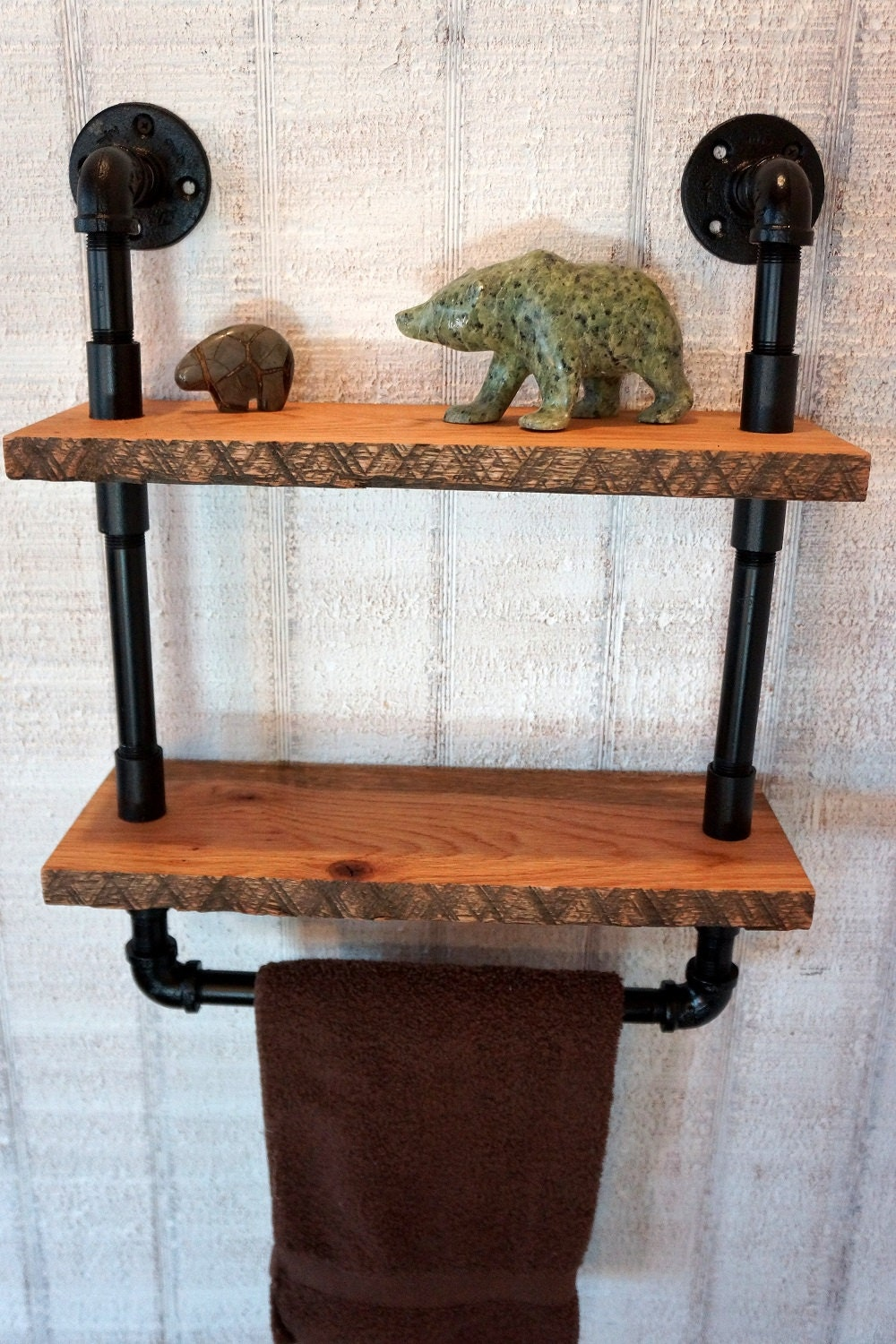 French Country Reclaimed Oak Shelves With Towel By