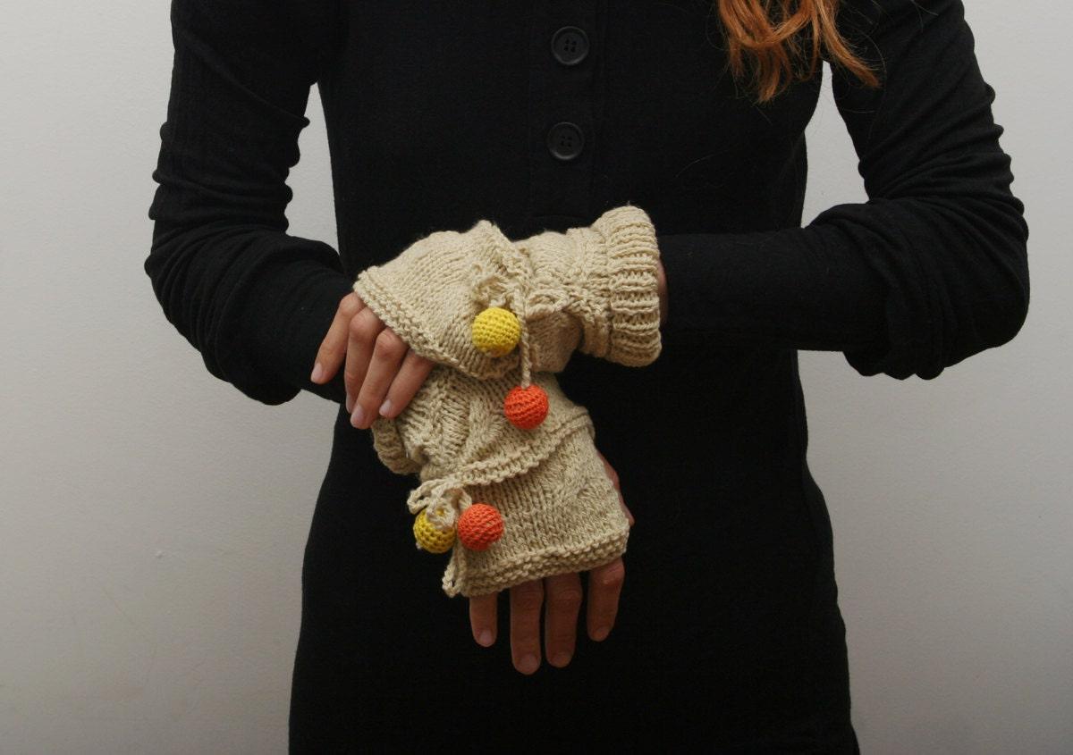 دست زنان کشباف fingerless و زمستان ، بژ ، مد