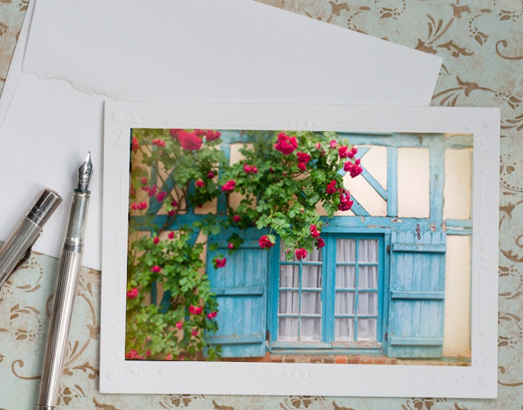 French Country Photo Notecard Blue Shutters By Georgiannalane