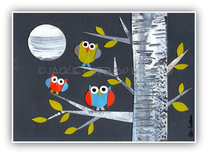 Owl art, Birch tree art, Owls in birch tree art, Original, Owl collage, Owls, Birch tree collage, Woodland nursery, Owl nursery, Forest art
