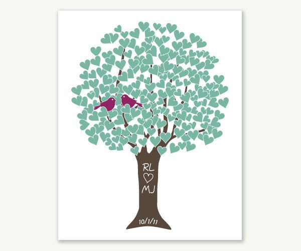 Heart Tree Love Birds Teal, Plum, Chocolate - Love Tree Wedding Gift - Digital Print w Initials Date - Shower Anniversary - ColorbeeLove