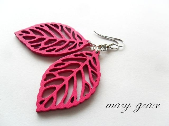 Hot  Pink Wooden Leaf Earrings