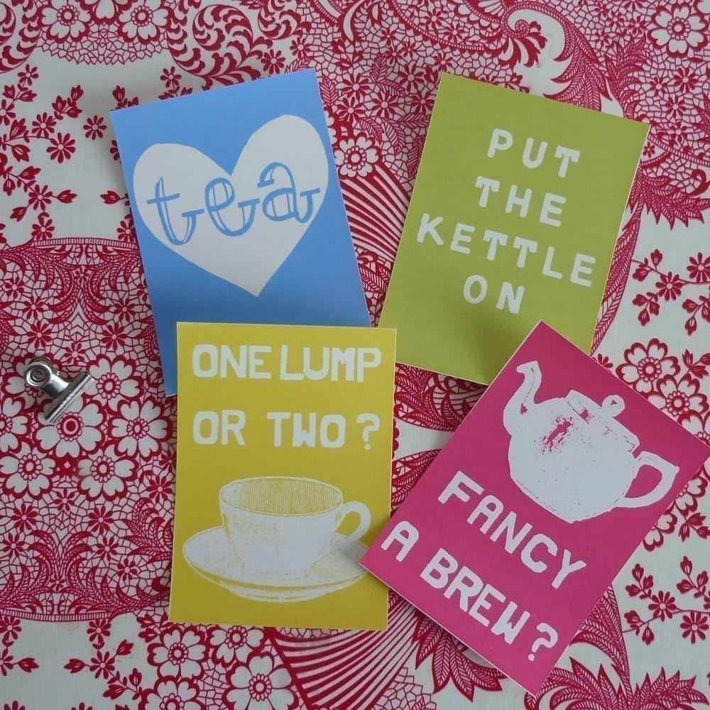 Tea Lover mini screenprint card set
