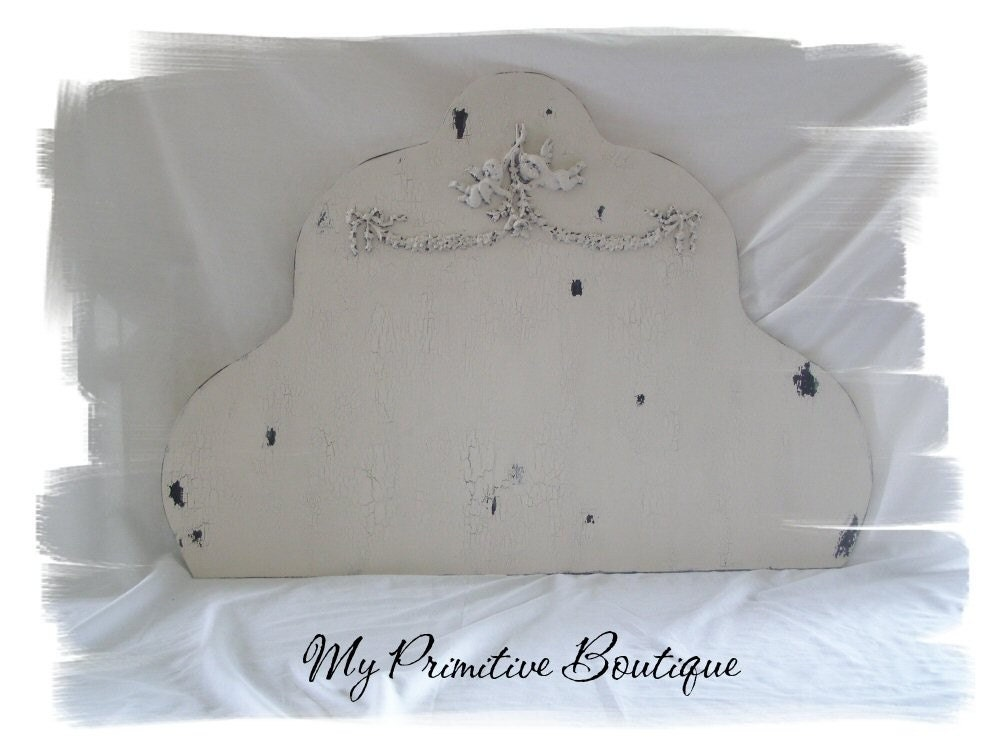 Twin Size Head Board, Shabby Chic Bed, Cottage Decor, Cherubs and Swags, Vintage Head Board, Vintage Pink Headboard
