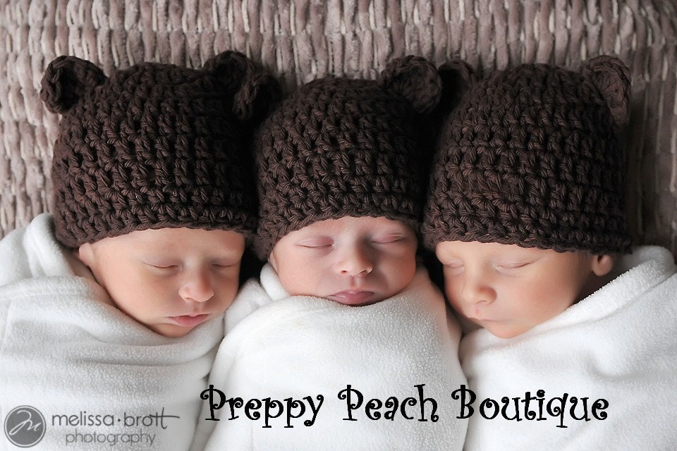 SET OF 3 HATS - TRIPLETS SET OF BEAR HATS - Newborn-3 Months, Infant Baby Cotton Crochet Beanie, Chocolate Brown, Baby Bear Hat, Photographer Prop