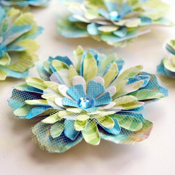 6 FANCY ЛЕПЕСТКИ ручной многослойные цветы с Rhinestone центры