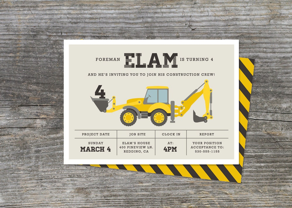 Construction Birthday Party Invitation By Brightsideprints