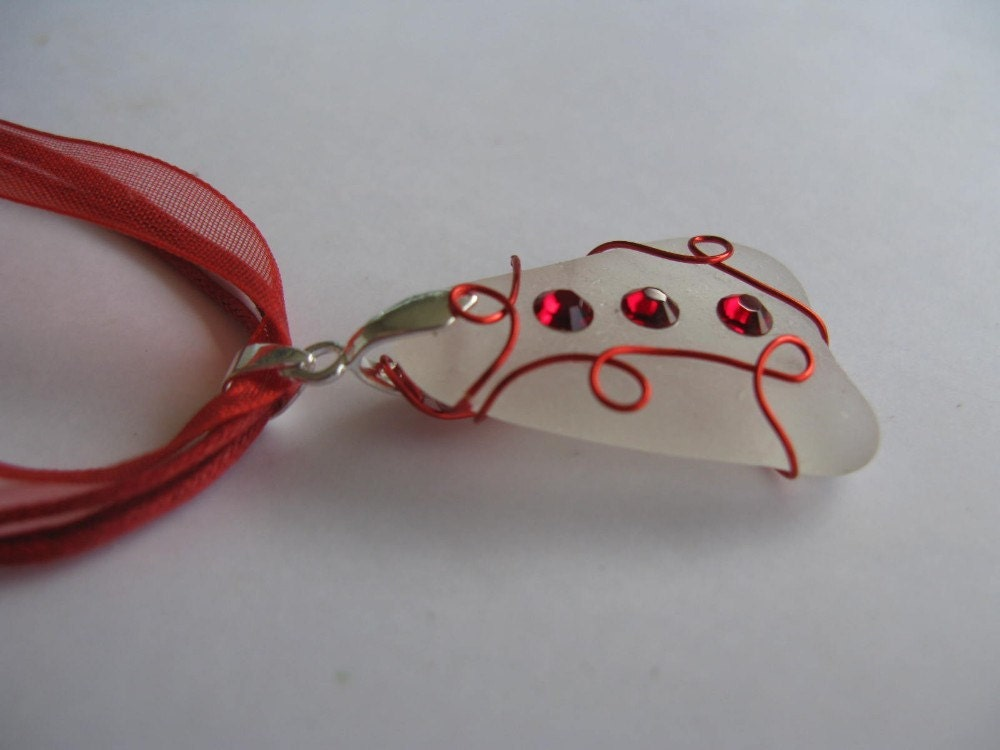 Sea Glass Necklace red wire wrapped
