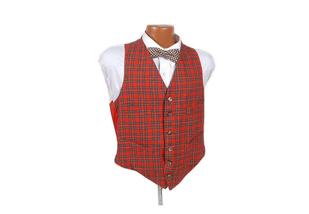 Vintage 50s 60s Red Green Tartan Plaid Button Front Vest Great Britain