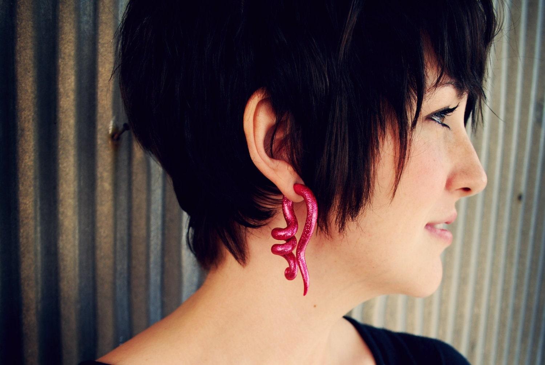 Glitter Corkscrew Gauged Earrings