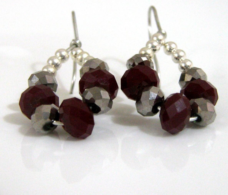 Deep red and gunmetal  teardrop earrings -  crystals hypo allergenic