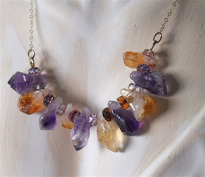 CARNELIAN and AMETHYST Rough Stone Linear by YOURDAILYJEWELS from etsy.com