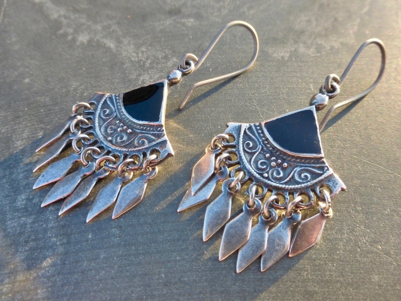 Antique Silver Ethnic Gypsy Boho Chandelier Drop Earrings With Black Inlay  Hypoallergenic Titanium OR Sterling Silver Ear Wires  Tribal