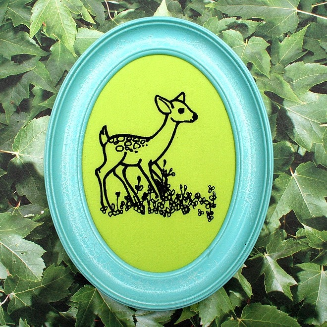 Oval Fame Deer Silk Screened Wall Art baby blue and green