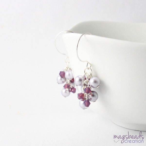 Lavender Purple Pearls Earrings, Dangle Pearl, Grapes Style, Simple, Elegant, Brides Earring, Bridesmaid Jewelry, Bridal, Wedding - magsbeadscreation