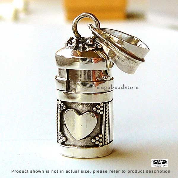 Heart Tube Pendant Locket Bali 925 Sterling Silver Pendant P61-S - MegaBeadStore