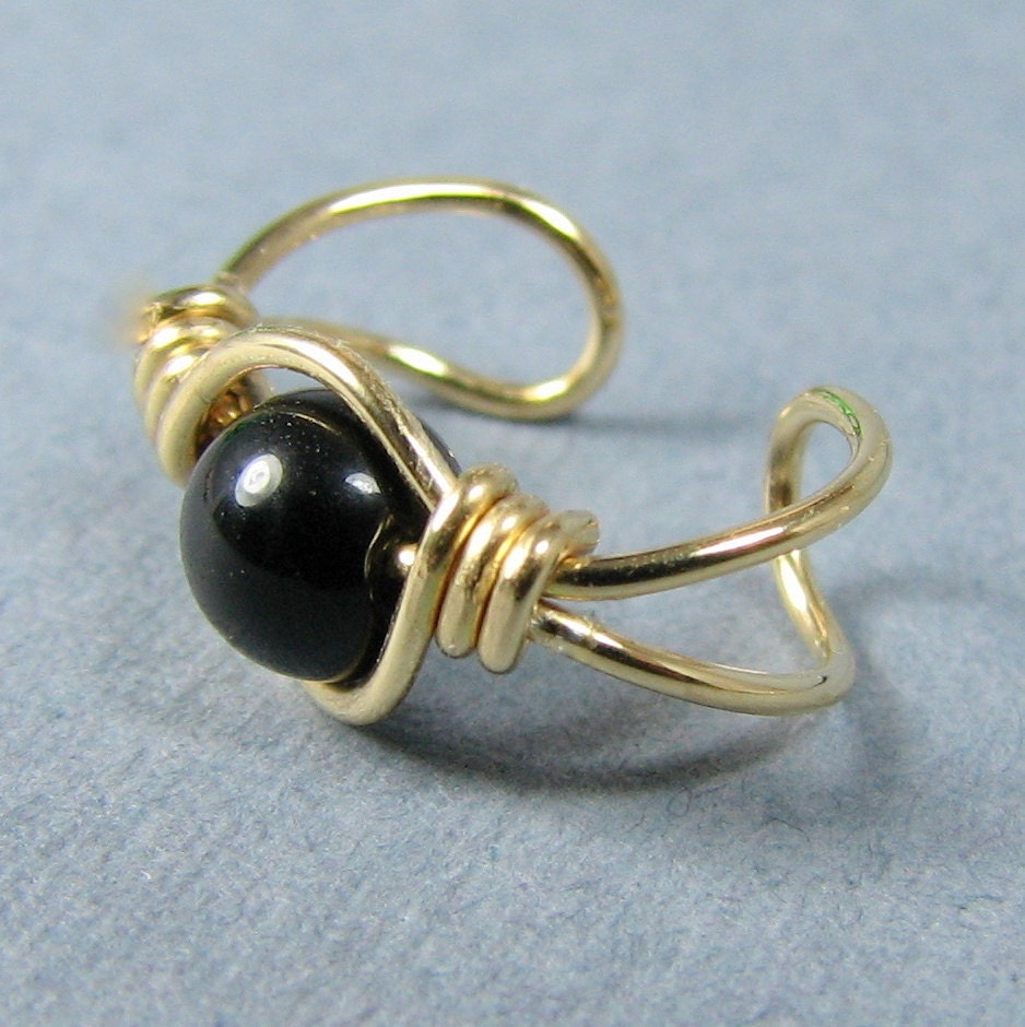 14k Gold Filled Ear Cuff Black Onyx
