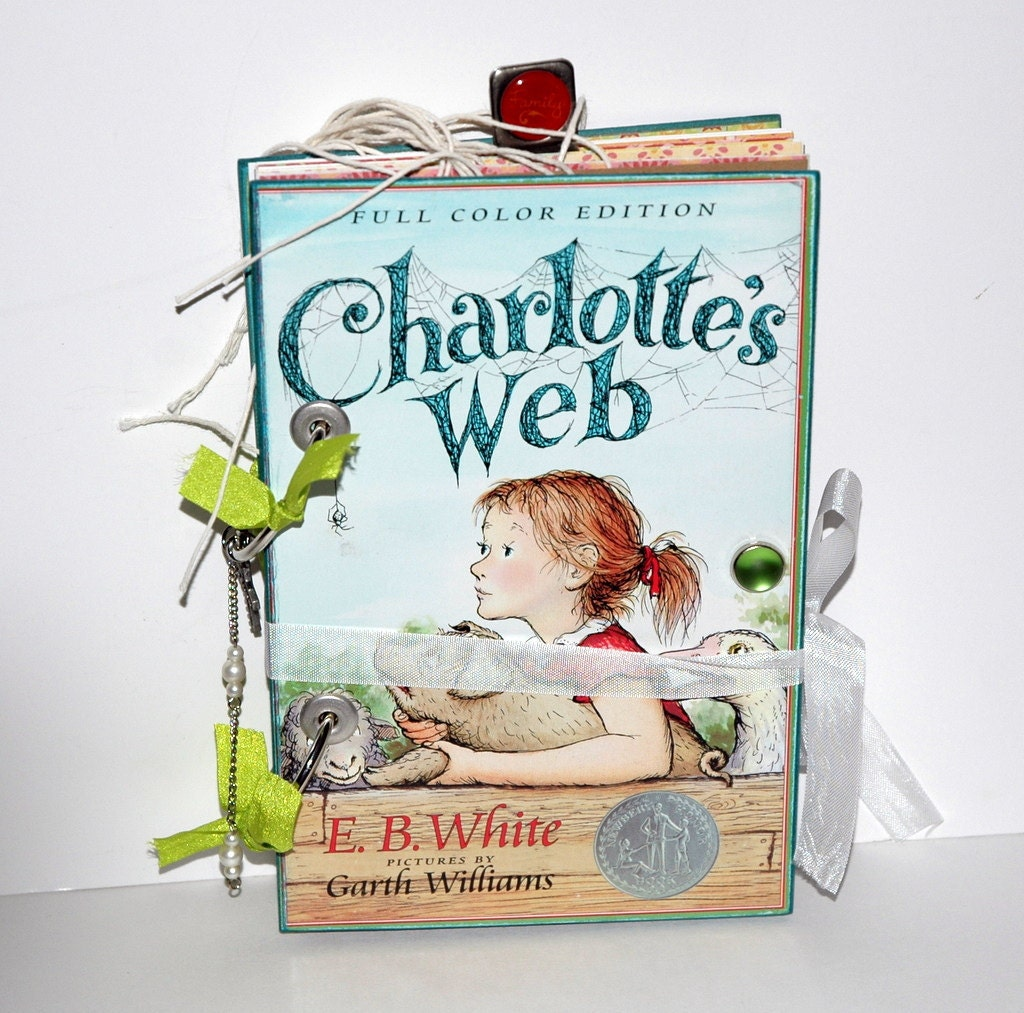 SALE-Upcycled, Charlotte's Web,  5x7.5 Daily/Travel Journal-100 Pages