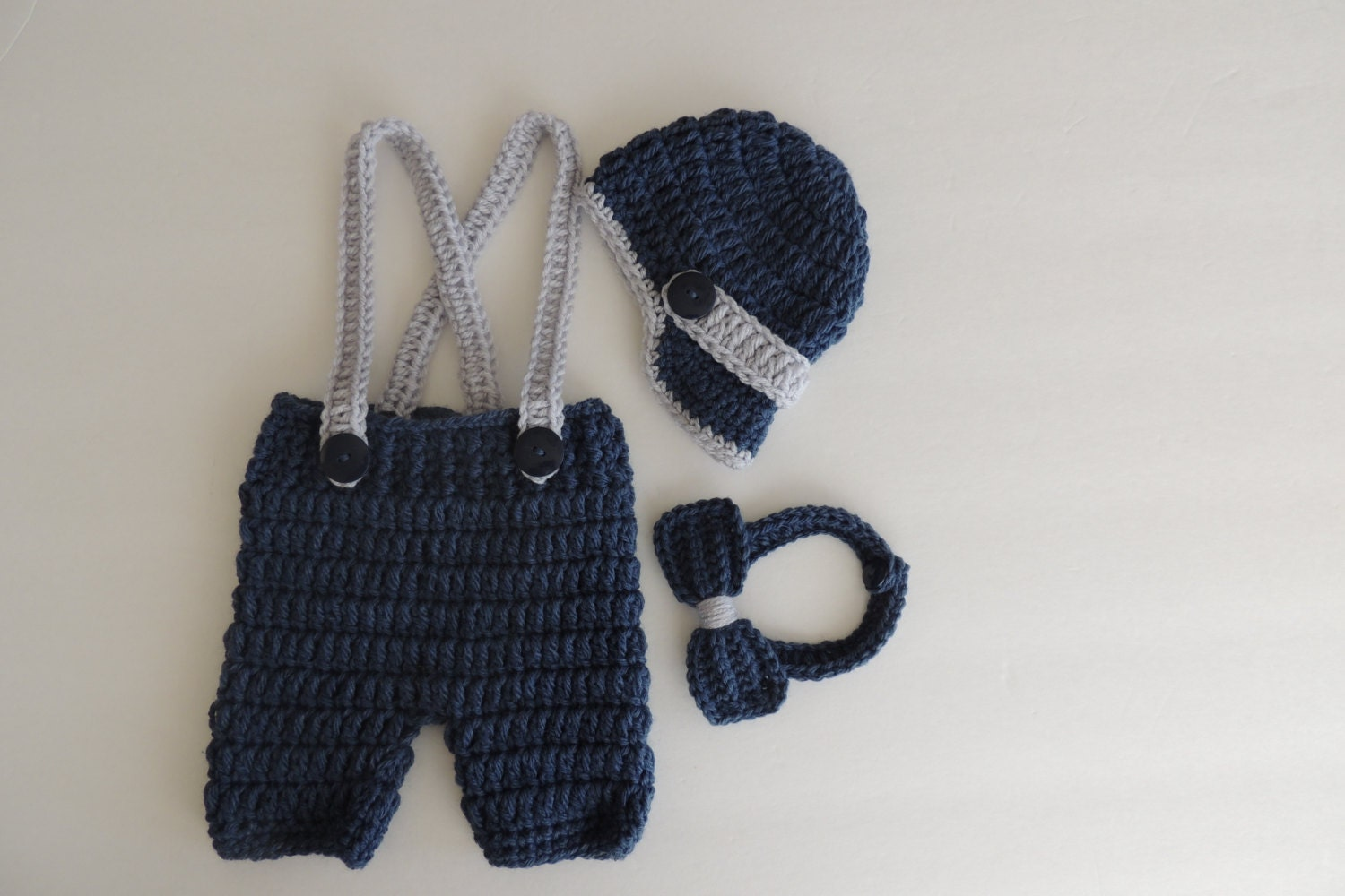 Crochet Newsboy Hat Bowtie Shorts/Pants with Suspenders in ...